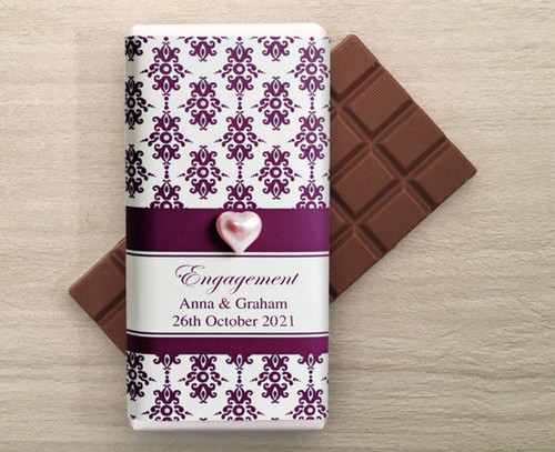 Personalised Milk Chocolate Bars in a wrapper with a Purple Baroque design and a decorative pearl heart.