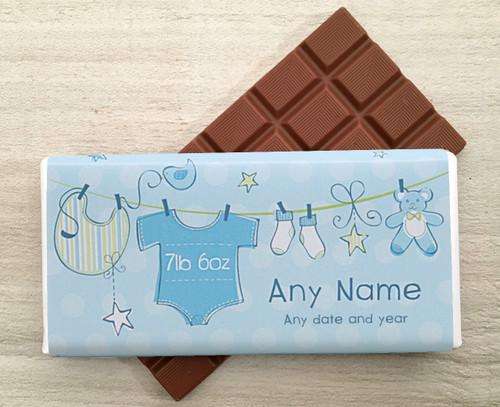 Baby design Milk Chocolate Bar In Blue wrapper