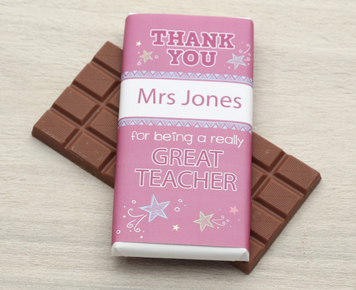 Thank You design Milk Chocolate Bar in Pink: Example text: Enter a name and a short message below the name 9128