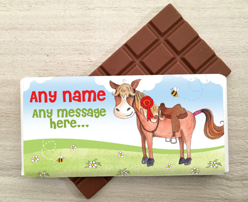 Personalised Milk Chocolate Bar - Pony design