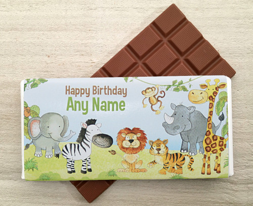 Personalised Jungle design Milk Chocolate Bar