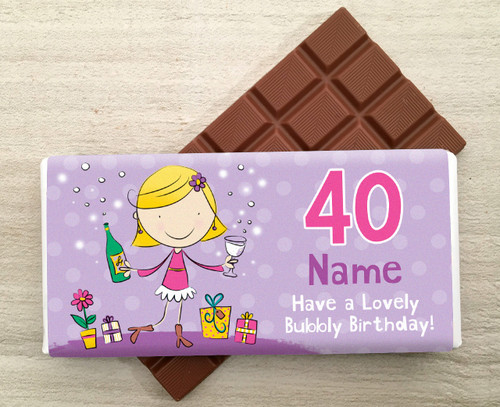 Personalised Milk Chocolate Bar - Party Design