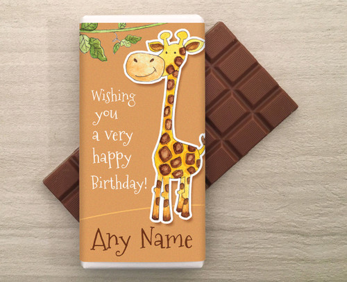 Personalised milk chocolate bar with Giraffe design from Chocolates for Chocoholics