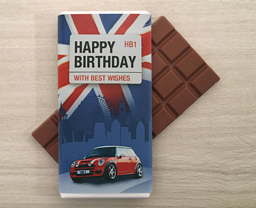 Personalised UK Mini Car design milk chocolate bar from Chocolates for Chocoholics