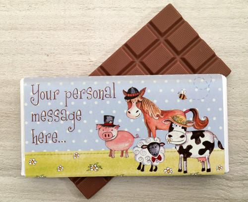 Personalised Farmyard design milk chocolate bar from Chocolates for Chocoholics