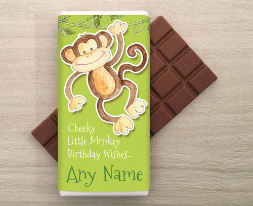 Personalised Cheeky Monkey design Milk Chocolate Bar