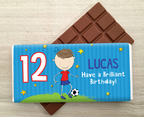 Personalised Milk Chocolate Bar - Football design