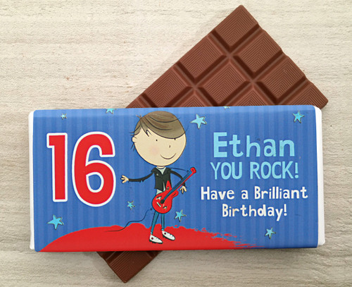 Personalised Milk Chocolate Bar - Guitar design from Chocolates for Chocoholics
