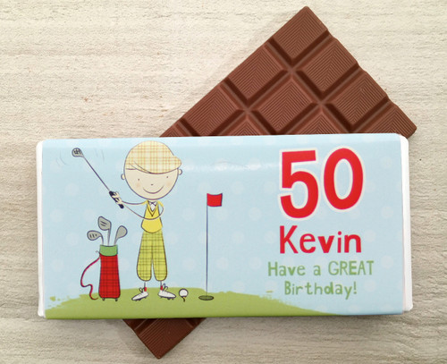 Personalised Milk Chocolate Bar - Golf design from Chocolates for Chocoholics