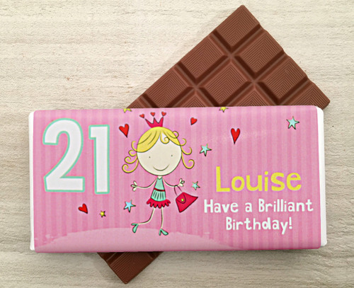 Personalised Milk Chocolate Bar for Birthday from Chocolates for Chocoholics