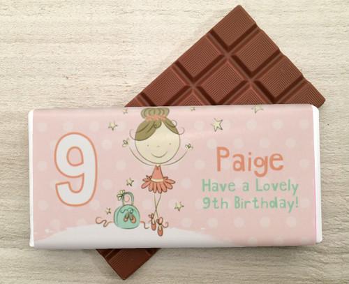 Personalised Milk Chocolate Bar - Ballet design