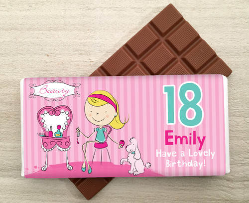 Personalised Milk Chocolate Bar - Beauty design