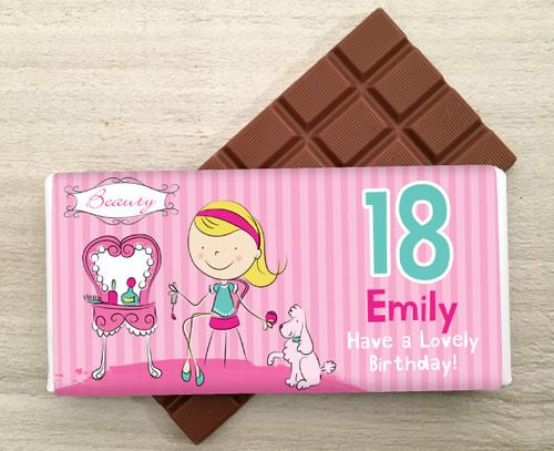Personalised Milk Chocolate Bar - Beauty design