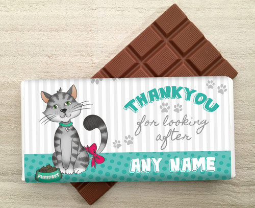 Cat Personalised Thank You Milk Chocolate Bar
