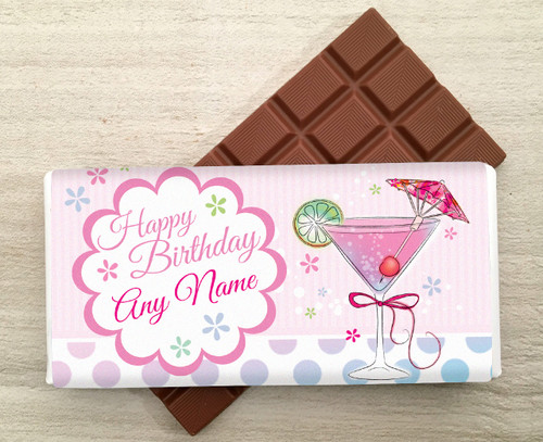Personalised Martini Glass Milk Chocolate Bar