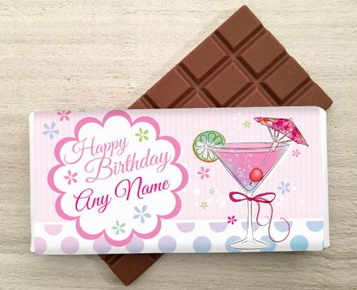 Personalised Martini Glass Milk Chocolate Bar