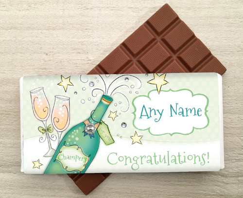 Personalised Champagne Bottle Milk Chocolate Bar