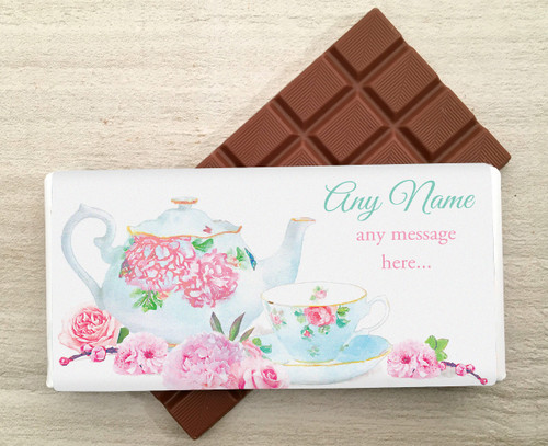 Personalised Milk Chocolate Bar with a Floral China Teapot design