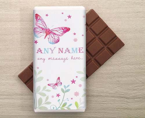 Personalised Spring Butterfly 100g Milk Chocolate Bar