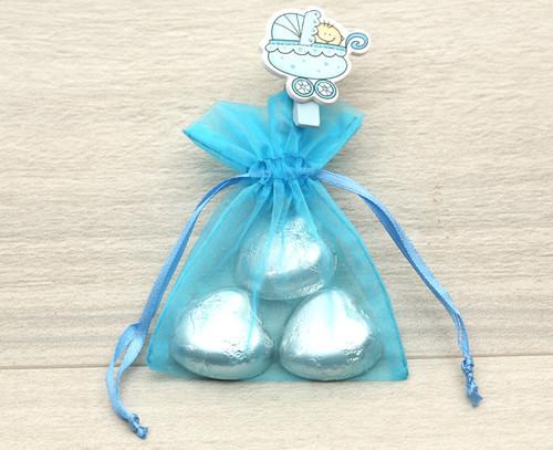 Blue Pram Peg Organza Bag
