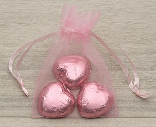 Baby Pink Organza Bag with milk chocolate hearts