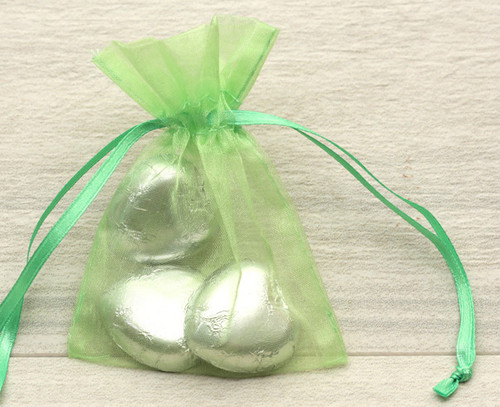 Organza Bags in Lime Green for wedding favours or table gifts for company events, birthday parties or other celebrations