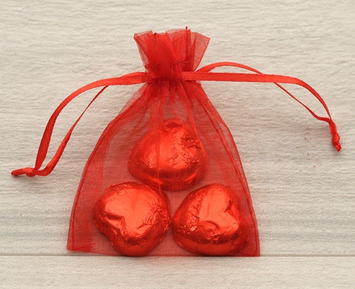 Red Organza Bag with milk chocolate hearts