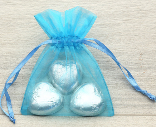 Turquoise Organza Bag with milk chocolate hearts