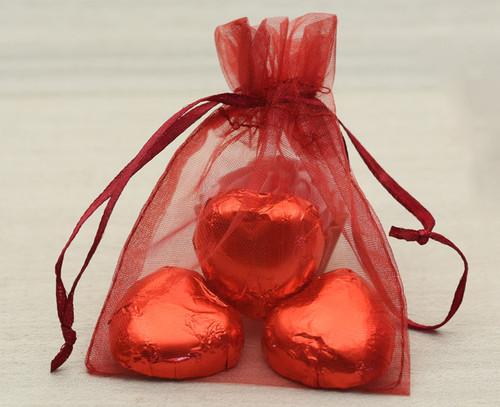 Burgundy Organza Bag with milk chocolate hearts