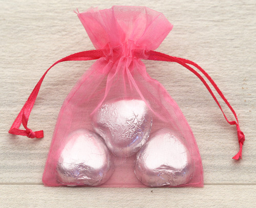 Organza Bags in Cerise for wedding favours or table gifts for company events, birthday parties or other celebrations