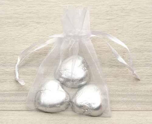 Organza Bag in Silver or white for wedding  favours, table gifts for anniversaries, company events, celebration parties