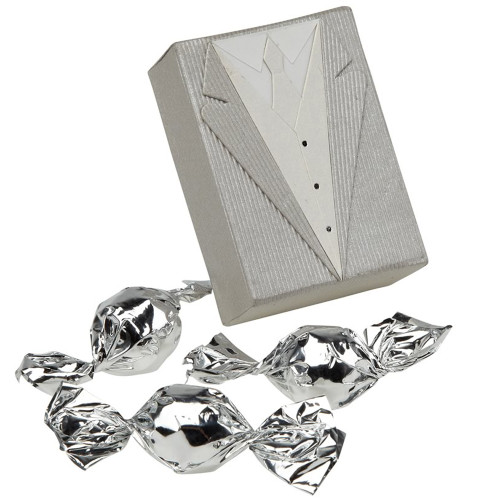 Wedding Favour - Silver Suit Box