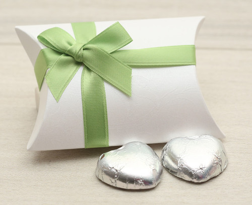 Table Gift in the shape of a Pillow Box with an Apple Green Satin Bow. Contains two foil wrapped milk chocolate hearts