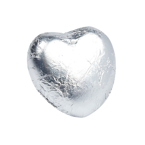 Milk Chocolate Hearts in Silver Foil