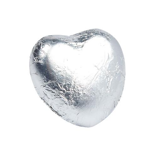 Milk Chocolate Hearts in Silver Foil