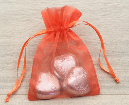 Organza Bags in Orange for wedding favours or table gifts for company events, birthday parties or other celebrations