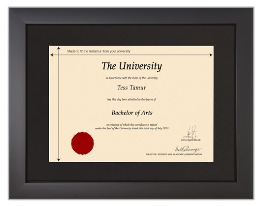 Frame for degrees from University of the West of Scotland - University Degree Certificate Frame