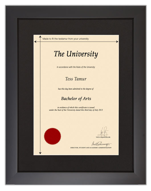 Frame for degrees from Trinity Laban Conservatoire of Music and Dance - University Degree Certificate Frame