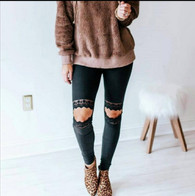 Black Lace Knee Cutout Leggings