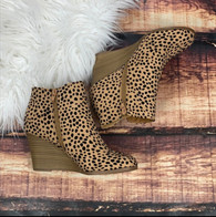 Spotted Leopard Wedge Booties