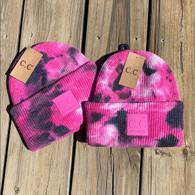 Pink Black Tye Dye Beanie