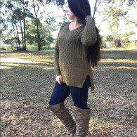Olive Green Popcorn Sweater