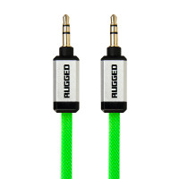 Gecko Rugged Aux Audio Flat Cable 1m - Green