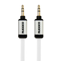 Gecko Rugged Aux Audio Flat Cable 1m - White