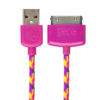 Gecko USB to 30-Pin Cable Braided 1.2m - pink/purple (Confetti)