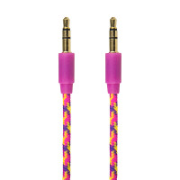 Gecko AUX Audio Braided Cable 1m - Pink/Purple (Confetti)