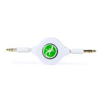 Gecko Retractable AUX Audio Round Cable 80cm- White