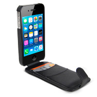 Gecko Flip Wallet Case for iPhone 4/4s - Black