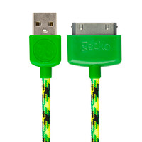 Gecko USB to 30-Pin Cable Braided 1.2m - Green/Yellow (Turtleback)