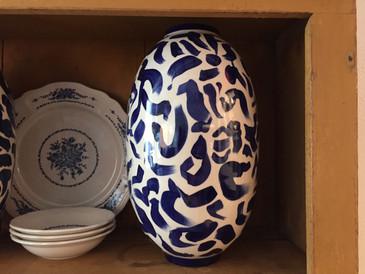 Stoneware Vase, Cobalt